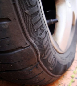 Lumps is a sign of internal damage in tyres